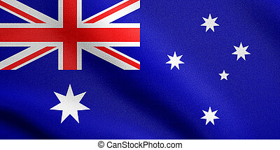 Flag of Australia waving with fabric texture