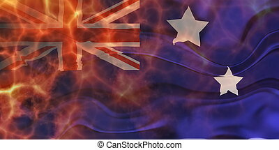 Flag of Australia wavy burning