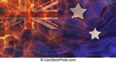 Flag of Australia wavy burning