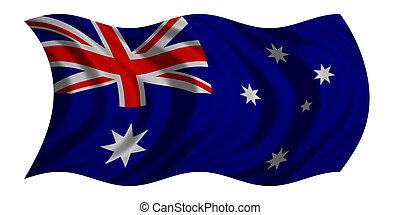 Flag of Australia wavy on white, fabric texture