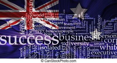 Flag of Australia wavy success