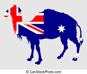 Flag of Australia with camel