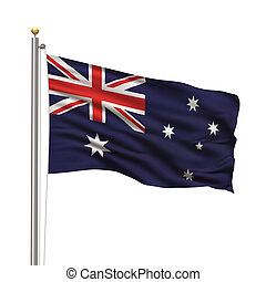 Flag of Australia with flag pole waving in the wind over ...