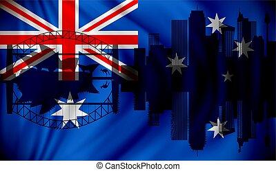 Flag of Australia with Sydney skyline