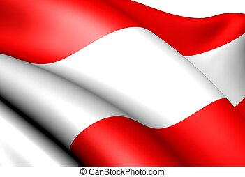 Flag of Austria against white background. Close up.