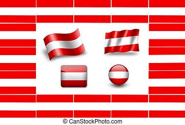 Flag of Austria. icon set. flags frame