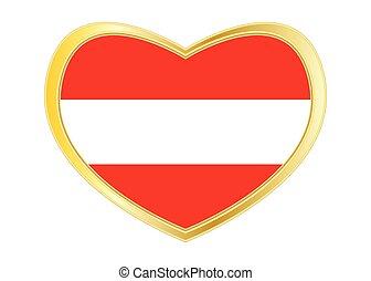 Flag of Austria in heart shape, golden frame