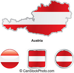 flag of austria in map and web buttons shapes