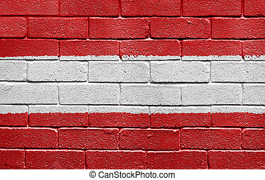 Flag of Austria on a brick wall
