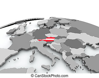 Flag of Austria on globe