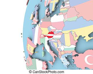 Flag of Austria on political globe