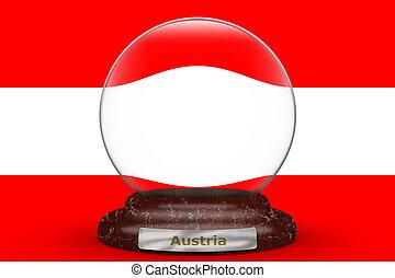 Flag of Austria on snow globe