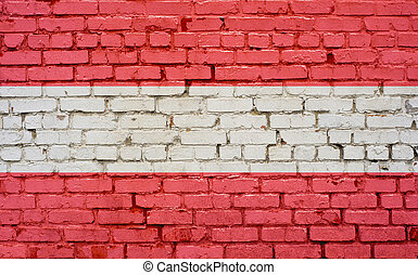 Flag of Austria painted on brick wall, background texture