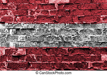 Flag of Austria painted on brick wall