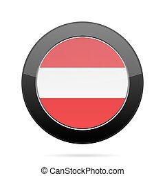 Flag of Austria. Shiny black round button.