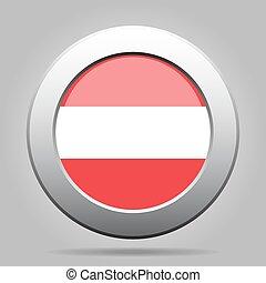 Flag of Austria. Shiny metal gray round button.