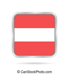 flag of Austria, shiny metallic gray square button