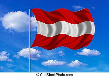 Flag of Austria waving on blue sky background
