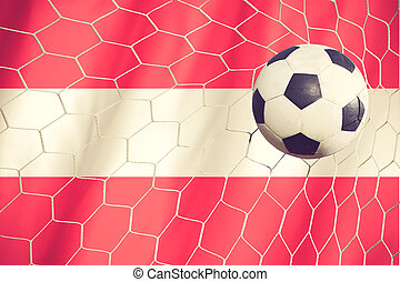 Flag of austria with Soccer ball vintage color