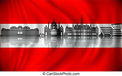 Flag of Austria with Vienna skyline