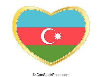 Flag of Azerbaijan in heart shape, golden frame