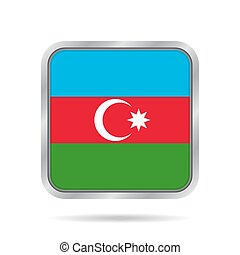 Flag of Azerbaijan. Metallic gray square button.