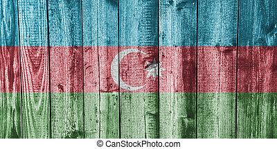 Flag of Azerbaijan on weathered wood