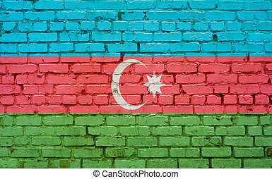 Flag of Azerbaijan painted on brick wall, background texture