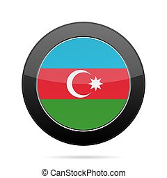 Flag of Azerbaijan. Shiny black round button.