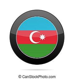 Flag of Azerbaijan. Shiny black round button.