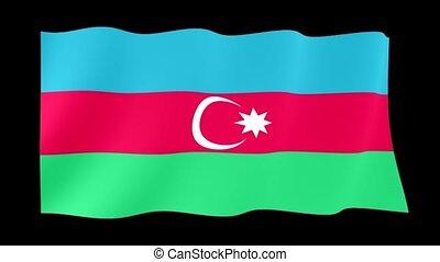 Flag of Azerbaijan. Waving flag computer animatie.