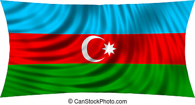 Flag of Azerbaijan waving in wind isolated on white