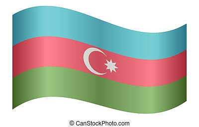 Flag of Azerbaijan waving on white background