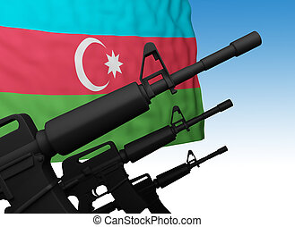 flag of azerbaijan with guns