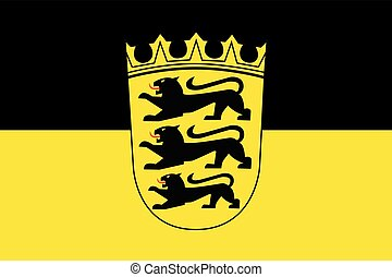 Flag of Baden-Wurttemberg with Coat of Arms, Germany. Vector Format