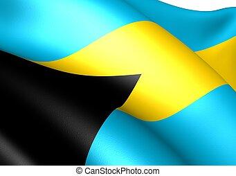 Flag of Bahamas against white background. Close up.