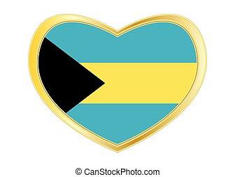 Flag of Bahamas in heart shape, golden frame