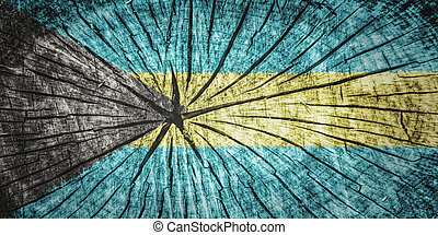 flag of Bahamas on cracked wooden texture
