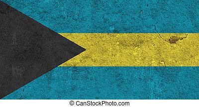 Flag of Bahamas on weathered concrete