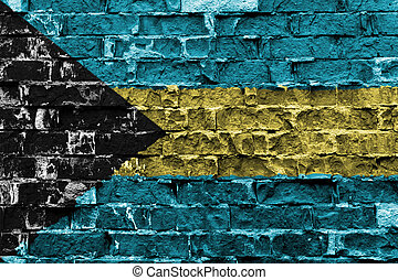 Flag of Bahamas painted on brick wall