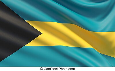 Flag of Bahamas. Waved highly detailed fabric texture.