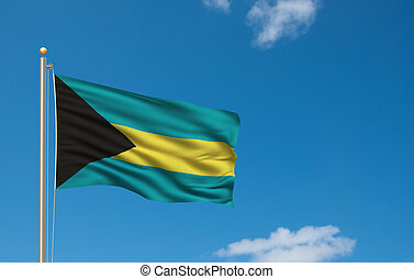 Flag of Bahamas with flag pole waving in the wind on front of blue sky