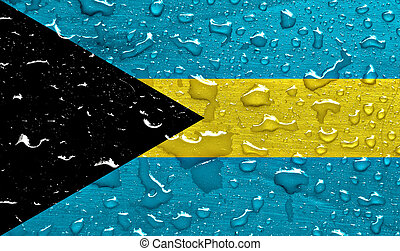 flag of Bahamas with rain drops