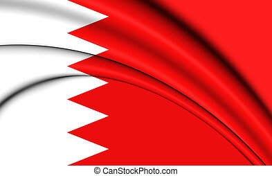 3D Flag of the Bahrain. Close Up.