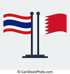 Flag Of Bahrain And Thailand. Flag Stand. Vector Illustration