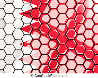Flag of bahrain, hexagon mosaic background