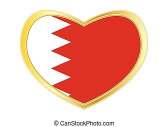 Flag of Bahrain in heart shape, golden frame