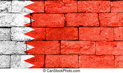 Flag of Bahrain on old brick wall.