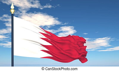Flag Of Bahrain on the background of the sky and flying...