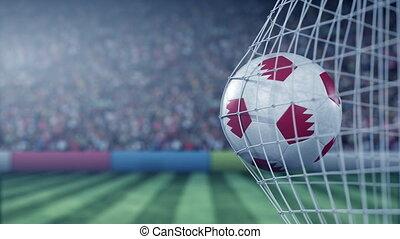 Flag of Bahrain on the football hitting goal net back. Realistic slow motion 3D animation
